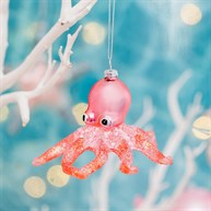 Wonderland Glitter Octopus Shaped Bauble