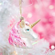 Pink Shimmer Unicorn Head Shaped Bauble
