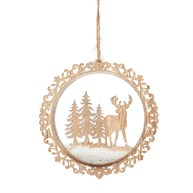 Natural Wood Stag In Forest Flat Bauble