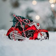 Christmas Tree On Motorcycle Shaped Bauble
