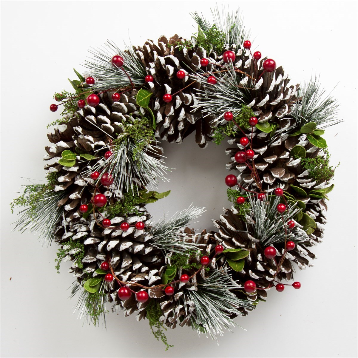 Sass and belle christmas wreath snowy pine cone berry door for Large christmas pine cones