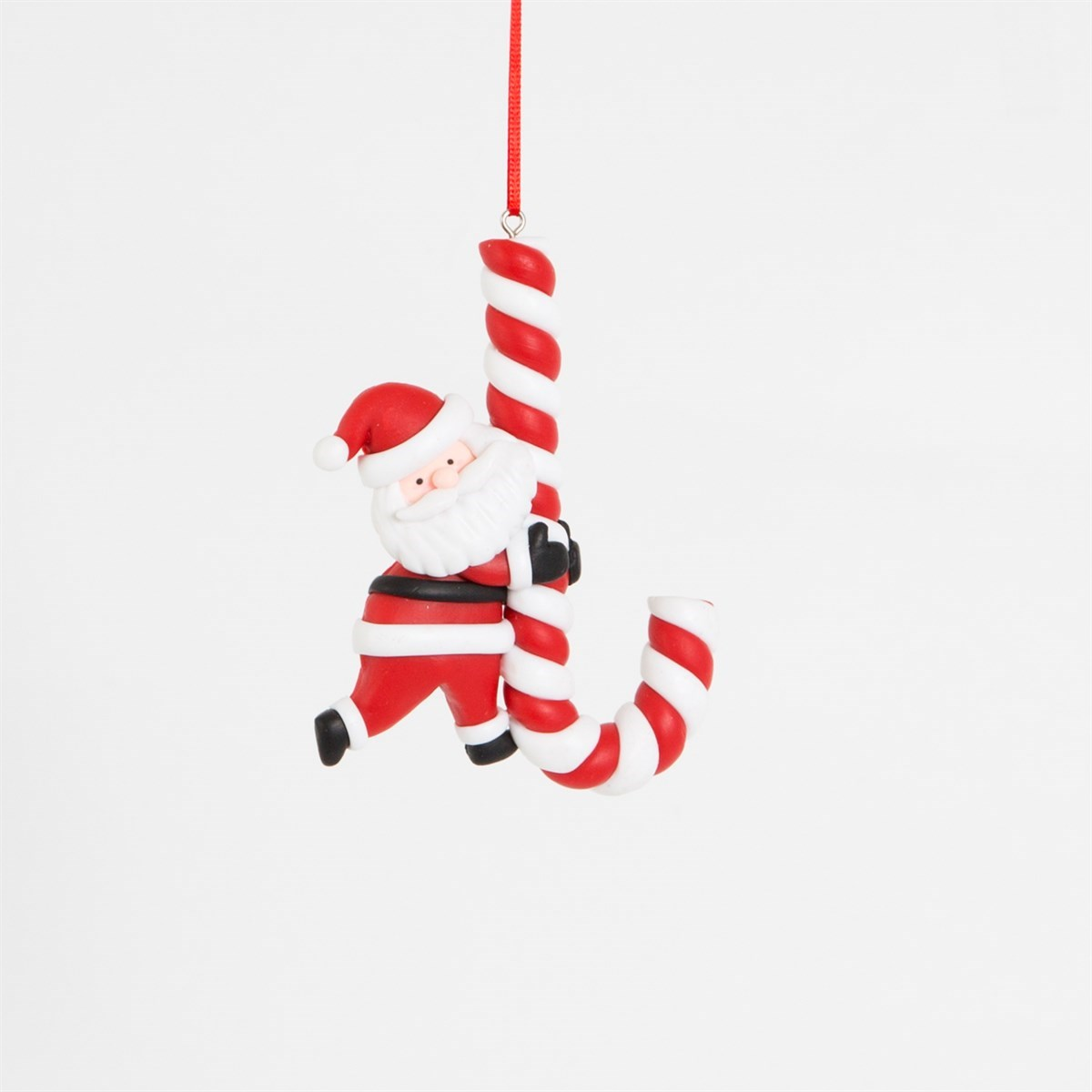 Clay Giant Candy Cane Santa Decoration