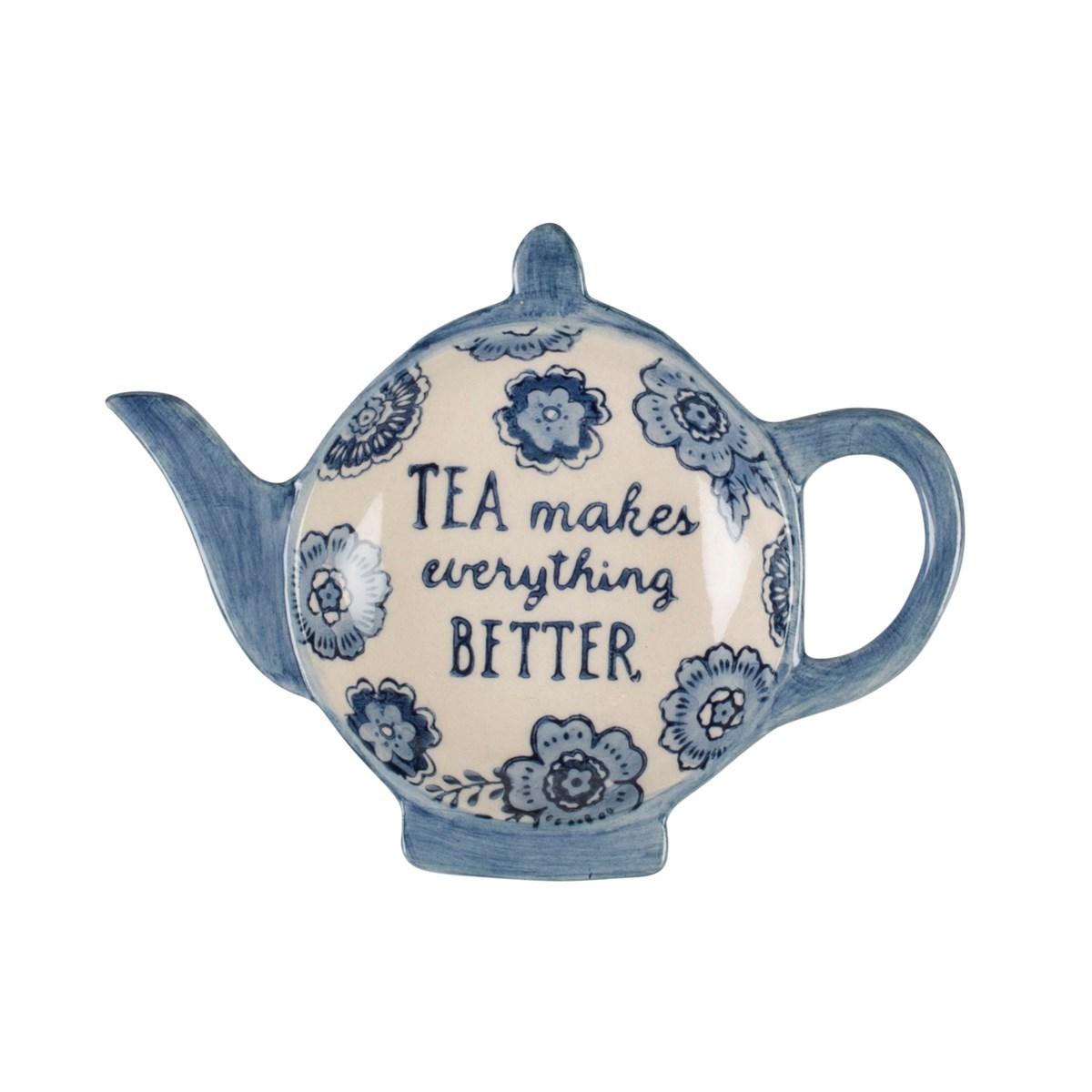 Kitchen Tea Accessories: Blue Floral Tea Lovers Tea Bag Dish