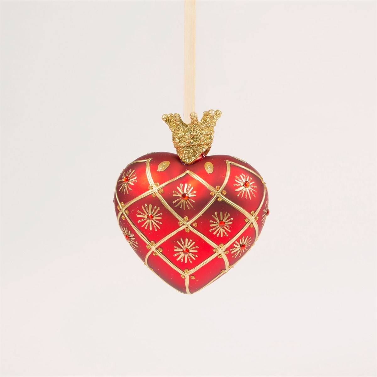 Sass /& Belle SET OF 4 RED /& GOLD HEIRLOOM OVAL BAUBLES Christmas Decorations