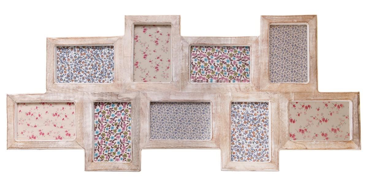 Nine Multi Photo Frame White Wood Effect