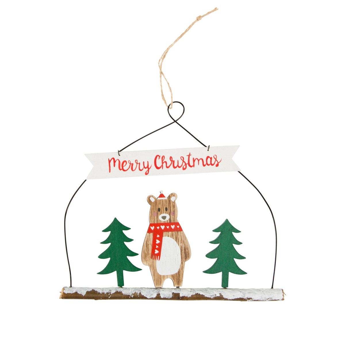 Merry Christmas Ornament Sign.Bear With Scarf Merry Christmas Sign