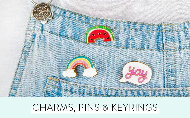 Pins, charms and keyrings